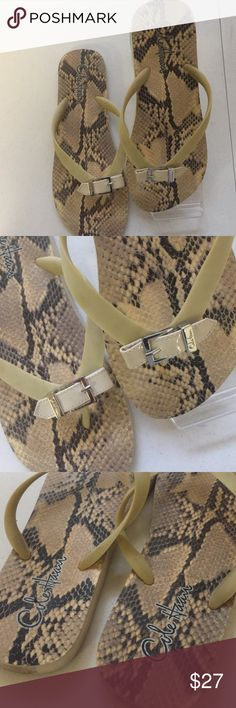 Cute Cole Hana snake Print flip flops Sandals 7 Very cute Cole Haan thongs in size 7   Tan rubber straps with a tan leather buckle strap across the top   Footbed pattern is snake print   Very good condition Cole Haan Shoes Sandals