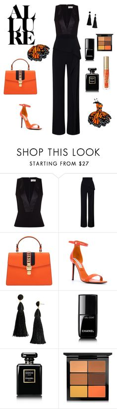 """Outfit Orange night"" by celestegendra on Polyvore featuring moda, Balenciaga, Roland Mouret, Gucci, Emilio Pucci, BaubleBar, Chanel, MAC Cosmetics y Too Faced Cosmetics"