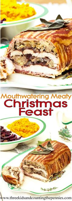 Mouthwatering Meaty Christmas Feast , This is an excellent alternative to a traditional Roast Turkey Christmas Dinner. It tastes absolutely amazing and makes a stunning centre piece. Christmas Buffet, Christmas Cooking, Christmas Desserts, Christmas Treats, Christmas Dinners, Christmas Entertaining, Christmas Foods, Christmas Christmas, Thanksgiving Recipes