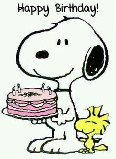 Happy Birthday - Snoopy Holdings a Pink Decorated Cake With Woodstock Standing Next to Snoopy Snoopy Clip Art, Snoopy Feliz, Snoopy E Woodstock, Images Snoopy, Snoopy Pictures, Peanuts Cartoon, Peanuts Snoopy, Snoopy Party, Snoopy Quotes