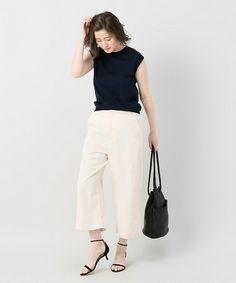 ホワイトの半端丈パンツを使って足元から夏らしく!上品きれいめな大人女子コーデまとめ♪