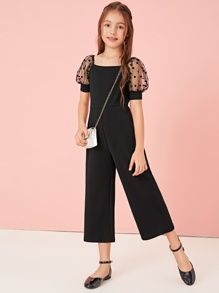 To find out about the Girls Solid Dobby Mesh Puff Sleeve Wide Leg Jumpsuit at SHEIN, part of our latest Girls Jumpsuits ready to shop online today! Preteen Girls Fashion, Teenage Girl Outfits, Girls Fashion Clothes, Cute Girl Outfits, Little Girl Outfits, Kids Outfits Girls, Little Girl Dresses, Kids Fashion, Fashion Outfits