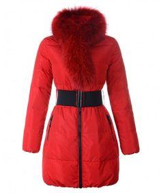 Moncler Lievre Womens Coat Designer Long Red http://www.onlakemac.com/moncler-coats-women.html