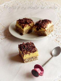 prajitura cu crema de vanilie Sweets Recipes, Cooking Recipes, Romanian Desserts, Cheesecake, Muffin, Breakfast, Food, Sweets, Romanian Recipes