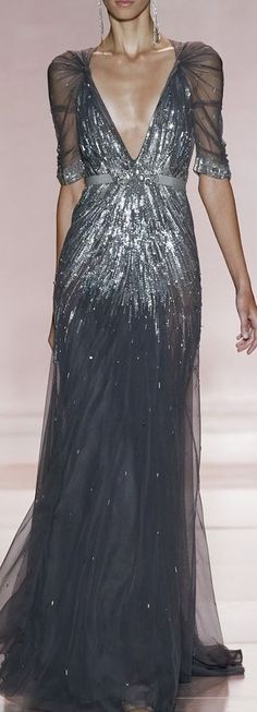 too deep cut - but i love the draping on the sleeves!