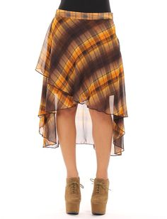 Plaid Retro Hi-Low Skirt * Description:Retro Plaid Chiffon Hi-Low Skirt * Color:Brown * Made in:USA * Model Specs:Antonia - Her Bust-Polyester Winter Spring Summer Fall - $17