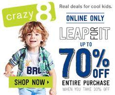 Crazy 8: Up to 70% Off! - http://closetsamples.com/crazy-8-up-to-70-off/