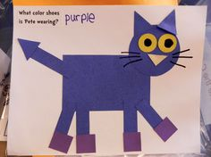 Libraryland: Pete the Cat Play to Learn Pete The Cat Shoes, Pete The Cat Art, Kindergarten Crafts, Preschool Crafts, Kindergarten Shapes, Kids Crafts, Cat Activity, Shape Crafts, Shape Art