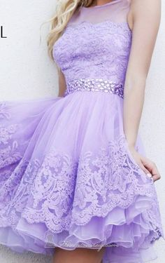 lace...  lilac periwinkle, cinched in waist, satin ribbon...  very full skirt...  very 50's!