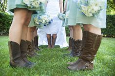 Love the bridal party in cowboy boots in Brown + Green bridesmaid dresses.