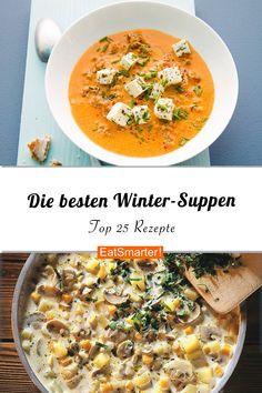 Im Winter sind Suppen einfach prima – sie wärmen, lassen sich leicht vorbereiten und schmecken mit saisonalem Gemüse besonders gut! Probiert unbedingt unsere Wintersuppen – als Abendessen oder zum Mittag Vegetable Soup Healthy, Vegetable Recipes, Vegetarian Recipes, Healthy Recipes, Meat Recipes, Best Winter Soups, Winter Food, Easy Soup Recipes, Salad Recipes