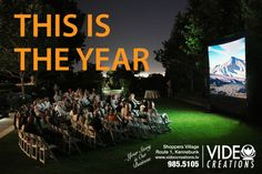 Video Creations, Kennebunk Maine  INFLATABLE MOVIE SCREEN RENTAL  Watch your favorite movie, play video games with your friends, catch the big game - on cable!  Includes sound system, DVD player, setup & take-down.  207-985-9105