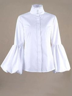 Blouse Styles, High Collar, White Long Sleeve, Modest Fashion, Types Of Sleeves, Body, Blouses For Women, Hottest Women, Refashion