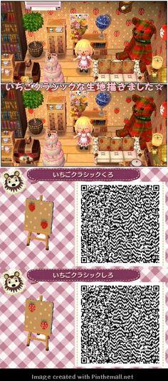 いちごクラシックくろ Strawberry classical wallpaper and furniture pattern QR code