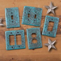 Turquoise Tooled Switchplates and Outlet Covers-truly western style, made of durable resin with the look of tooled leather.