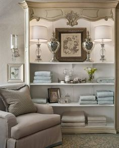Anatomy of A Linen Closet--Organization and Style Repurposed Furniture, Painted Furniture, Furniture Design, Mantel Styling, Bookcase Styling, Linen Closet Organization, Wardrobe Organisation, Organisation Ideas, Organizing Ideas