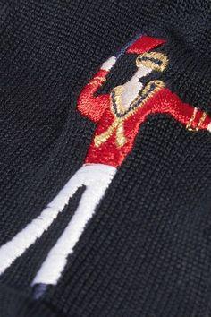 Maria La Rosa - Sailor Man Embroidered Silk-blend Socks - Midnight blue - One size
