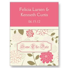 Pink and Cream Floral Save The Date by DazzetteMarie