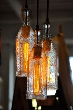 Bottles Into Pendant Lamps This is a creative repurposing, upcycling and reuse idea that your friends will try to recognize from what are made the lamps!