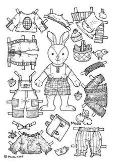 Karen`s Paper Dolls: Mads Paper Doll to Colour. Mads påklædningsdukke til at farvelægge.