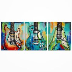 Guitar painting Music Art Gift for Musician Les Paul Original guitar painting on canvas- triptych  by Magda Magier