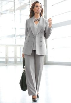 Jessica London Plus Size Double Breasted Pantsuit