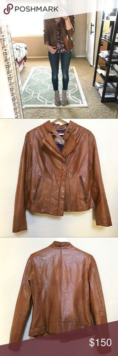 Andrew Mark genuine leather Moto jacket Marc New York by Andrew Marc cognac leather moto jacket. Finely crafted from supple leather that has been perfectly worn-in to a softly variegated patina.  Worn regularly but still in good condition with only light signs of wear. Andrew Marc Jackets & Coats