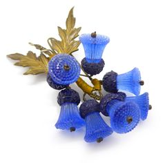 Vintage Czech 1940s Hand Made Thistle Blue Glass Brooch | Clarice Jewellery | Vintage Costume Jewellery