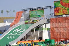Tory Nyhaug, Canadian racing cyclist in BMX on the start line of seeding run at Rio2016 Olympics. Picture taken on Aug 17th, 2016