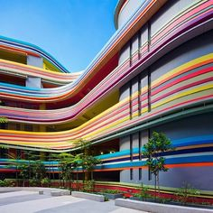 This crazy Singapore school looks like it's made from rainbow lollipops Nanyang Primary School by 505 and LT&T – Inhabitat - Green Design, Innovation, Architecture, Green Building Singapore Architecture, Colour Architecture, Australian Architecture, Facade Architecture, Amazing Architecture, Kindergarten Architecture, Kindergarten Design, School Building Design, School Design