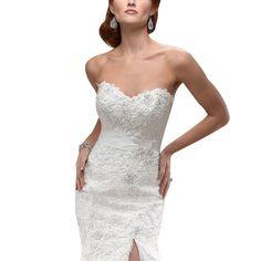 HoneeyGirl 2015 Sexy Mermaid Romovable Straps Side Slit Lace Wedding Dresses
