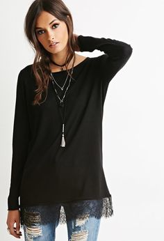 Eyelash Lace-Trimmed Sweater | Forever 21 - 2000173623