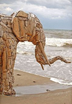 These magnificent driftwood sculptures are by South African artist Andries Botha.