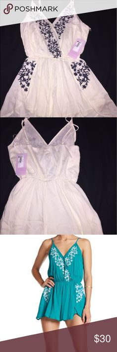 Junior ivory tank romper Embroidered tank surplus romper in ivory. Med just purchased on vacation at Ron Jon shop but sadly doesn't fit😭. Its so beautiful. Smoke free/pet free. Juniors Med onetheland Pants Jumpsuits & Rompers