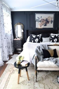 This is a Bedroom Interior Design Ideas. House is a private bedroom and is usually hidden from our guests. However, it is important to her, not only for comfort but also style. Much of our bedroom … Black Bedroom Furniture, Home Decor Bedroom, Bedroom Black, Black Bedrooms, Furniture Sets, Gothic Bedroom, Light Bedroom, Dark Master Bedroom, Neutral Bedrooms