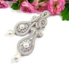 Trenza Crema pendientes de novia con perlas y cristales