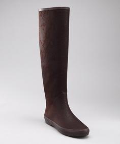 brown tall rain boots