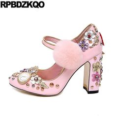 Ladies Rhinestone Flower Pink Wedding Shoes Catwalk Round Toe Ankle Strap  Rivet Vintage Pearl Metal Fur 5fc346dc6d84