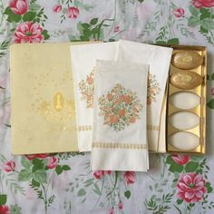 *Click on the picture to purchase* Love vintage bathroom ephemera? Then this Mary Chess set is for you. Contains 3 paper hand/guest towel napkins and 2 small gold soaps, all unused. The gold, salmon pink, and green flowers are a delicate work of art, and the gold and cream box would be perfect for storing old and antique papers. This set of toiletries is a blast from the past and would lend an element of charm and glamour to any room.