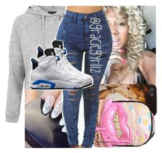 """"""""""" by graciegyrl12 ❤ liked on Polyvore featuring Topshop, Sprayground and NIKE"""