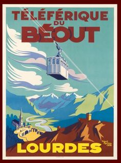 Lourdes-Pyrenees-France-French-Europe-Vintage-Travel-Advertisement-Poster