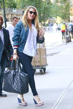 Blake Lively wearing Chanel Coco Cocoon Quilted Large Shopping Bag and Christian Louboutin Cataclou Sandals