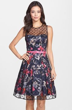 Free shipping and returns on Eliza J Illusion Yoke Mesh & Faille Fit & Flare Dress at Nordstrom.com. An overlay of Swiss-dotted mesh follows this perky floral-print dress that flares from the belted waistline.
