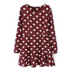 Heart Print Zippered Long Sleeves Burgundy Dress | pariscoming