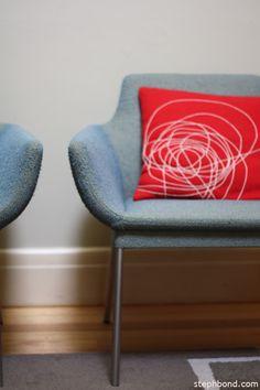 Our Walter Knoll scoop chairs. Bholu cushion.