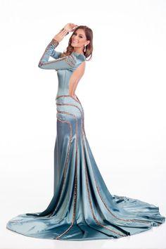 Desire Ferrer Miss Spain in evening dress for Miss Universe;