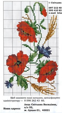 Poppies and cornflowers Cross Stitch Love, Cross Stitch Pictures, Cross Stitch Flowers, Cross Stitch Charts, Cross Stitch Designs, Cross Stitch Patterns, Loom Beading, Beading Patterns, Beaded Embroidery