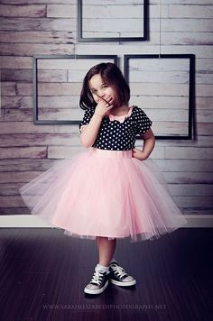 TUTU DRESS in black polka dot Pink tulle skirt for baby toddler girl .. holiday birthday party portrait flower special occasion. $47.00, via Etsy.