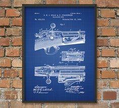 Krag Jorgensen Rifle Patent Print  Vintage Bolt Action Rifle