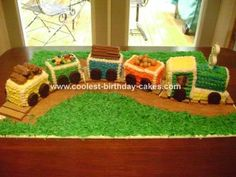 Train Cake: My son just turned 3 and he told me he wanted a choo-choo train cake but he did not want Thomas. Which was really odd cause he loves Thomas, but that was